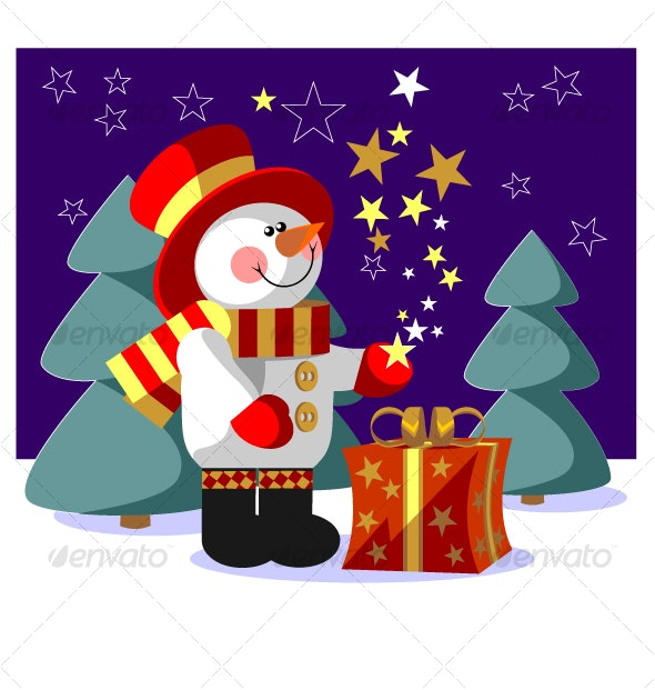 Snowman  with gift in color 05 - Christmas Seasons/Holidays