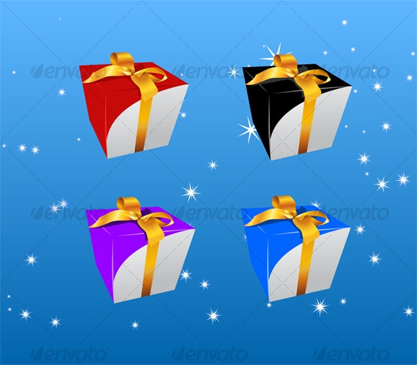gift box 4 color  - Backgrounds Decorative