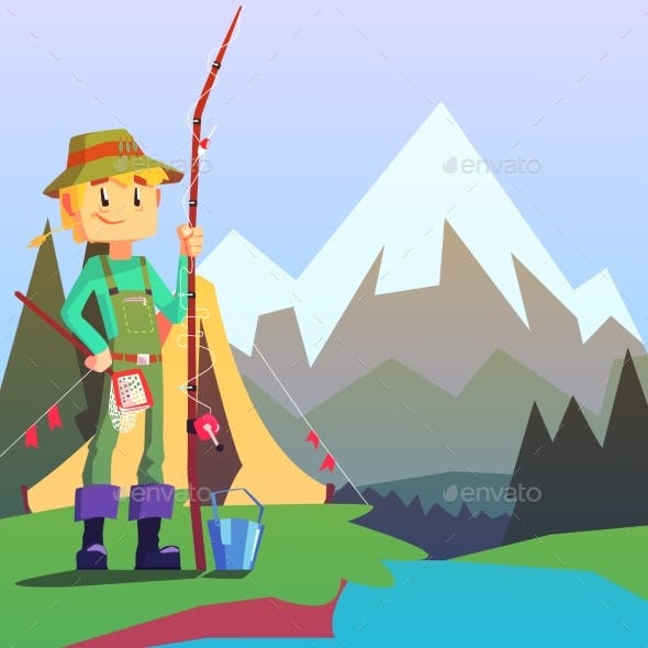 Fisherman Camping with a Mountain Landscape