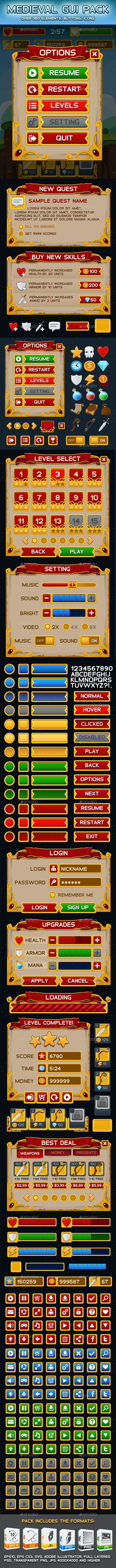 Medieval Game GUI Pack - User Interfaces Game Assets