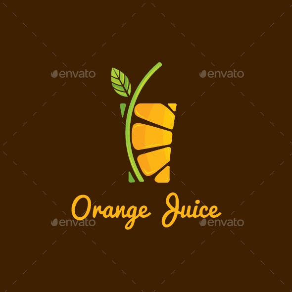 Orange Juice Drink Logo Template
