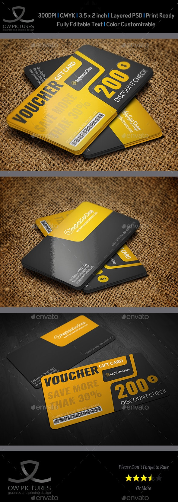 Gift  Voucher Card Vol.23 Template - Cards & Invites Print Templates
