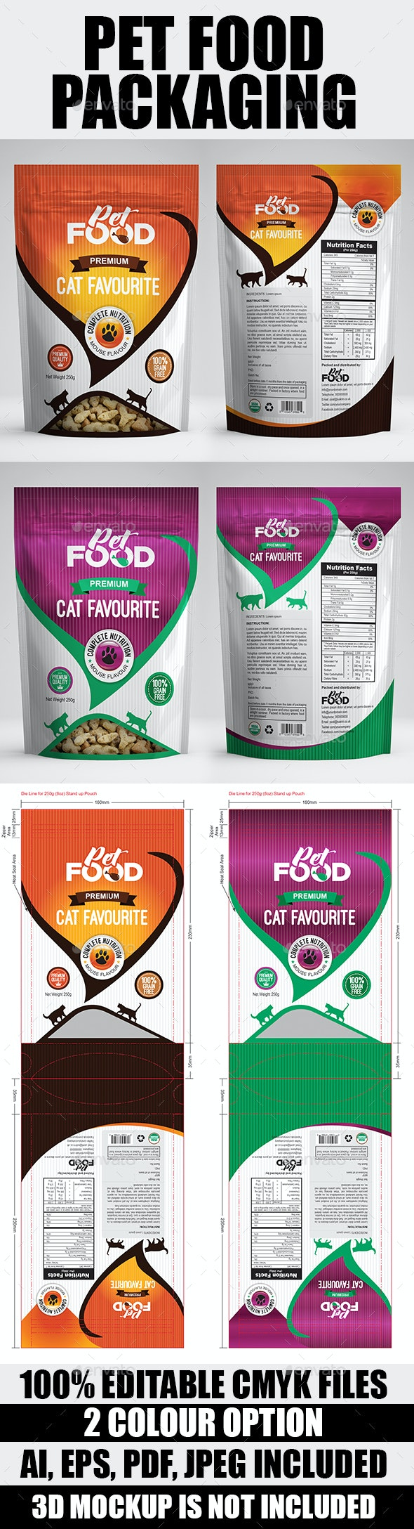 Pet Food Bag Packaging Design Template - Packaging Print Templates