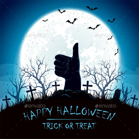 Blue Halloween Background with Thumbs Up on Cemetery