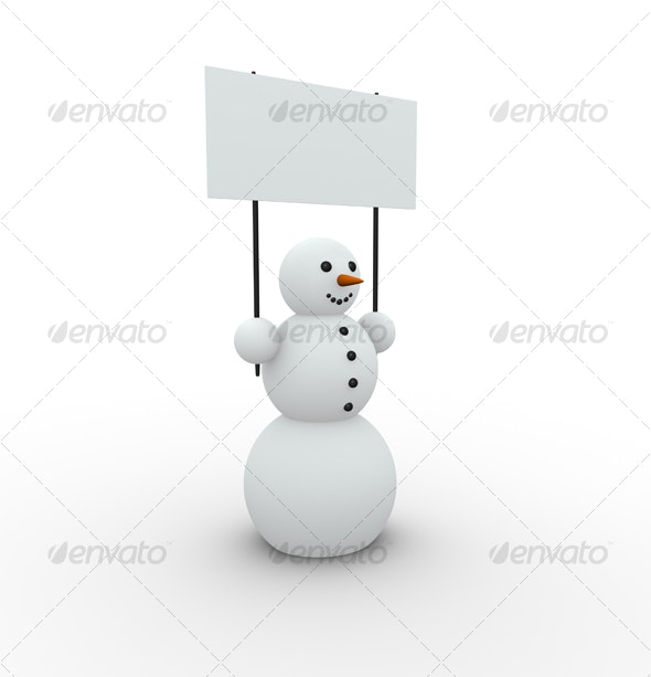snowman with banner - Objects 3D Renders