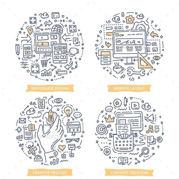 Website Design Doodle Illustrations