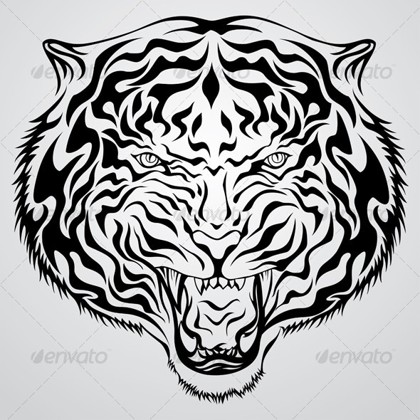 Tiger Head Tattoo - Tattoos Vectors