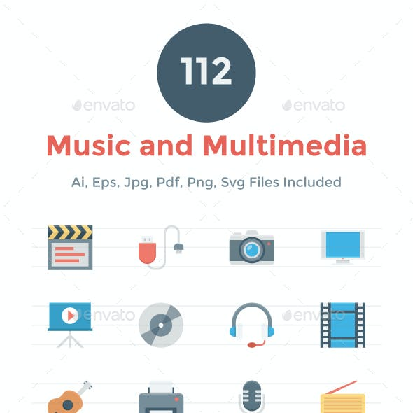 112 Flat Music and Multimedia Icons