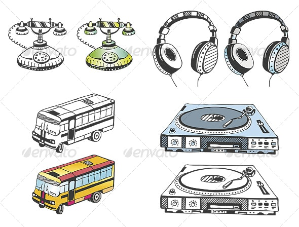 Hand Drawn Some Devices (Vector + PSD) - Objects Vectors