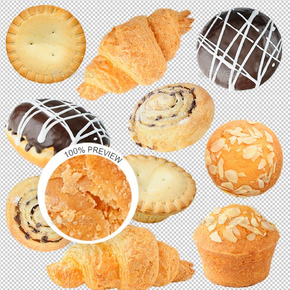 Isolated Pastry Collection