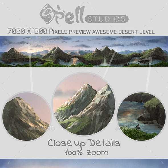 2D Mountain Background Wide Detailed