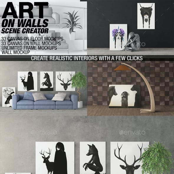 Art On Walls Mockup - Canvas Mockups - Frame Mockups - Wall Mockups Vol 5