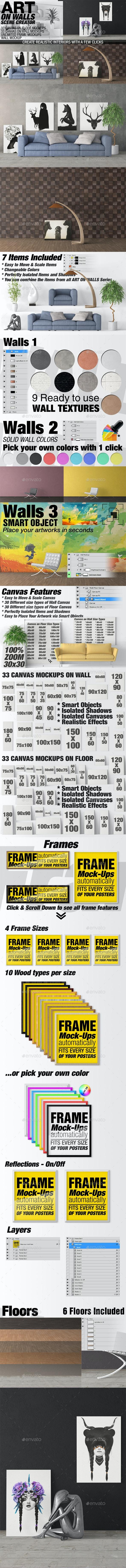 Art On Walls Mockup - Canvas Mockups - Frame Mockups - Wall Mockups Vol 5 - Miscellaneous Product Mock-Ups