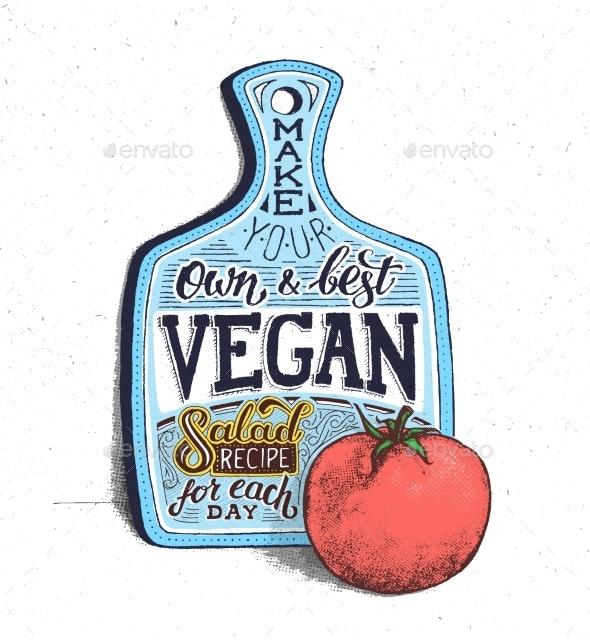 Vegan Food Motivational Quote Vintage Poster - Backgrounds Decorative