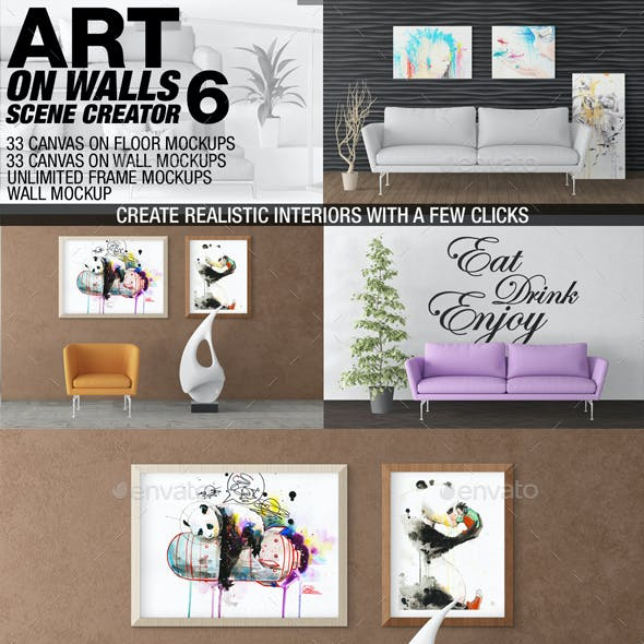 Art On Walls Mockup - Canvas Mockups - Frame Mockups - Wall Mockups Vol 6