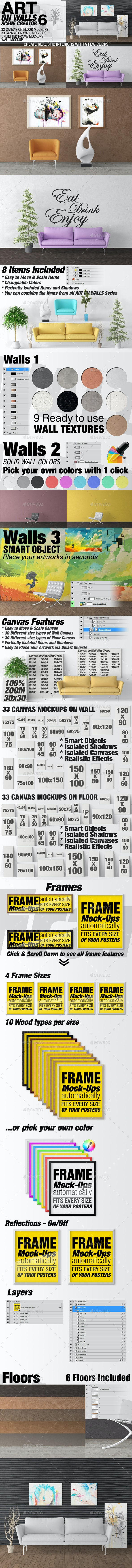 Art On Walls Mockup - Canvas Mockups - Frame Mockups - Wall Mockups Vol 6 - Miscellaneous Product Mock-Ups