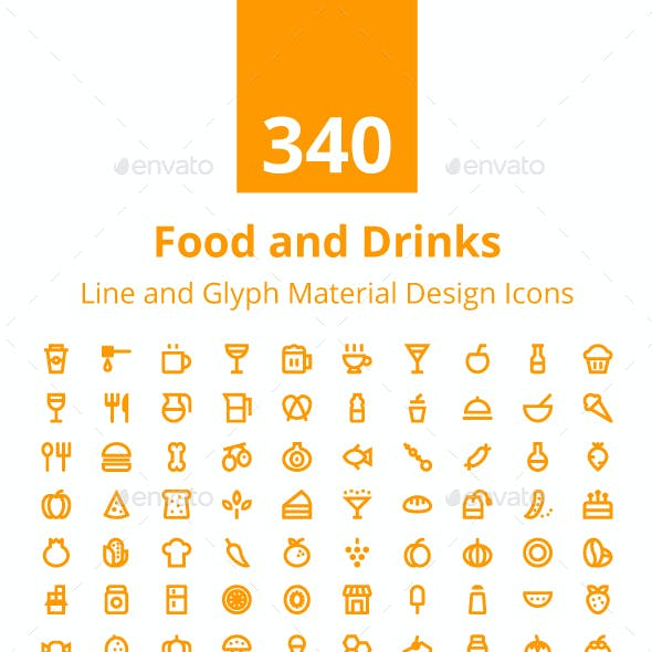 340 Food and Drinks Material Icons