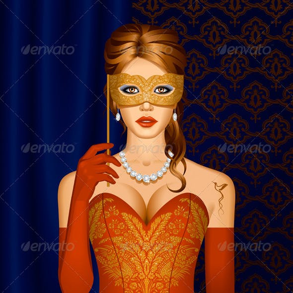 Venetian Beauty In A Mask