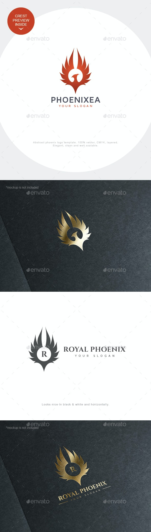 Phoenix Logo Crest - Animals Logo Templates