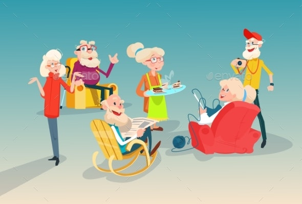 Senior People Group Friends Meeting Communication - People Characters