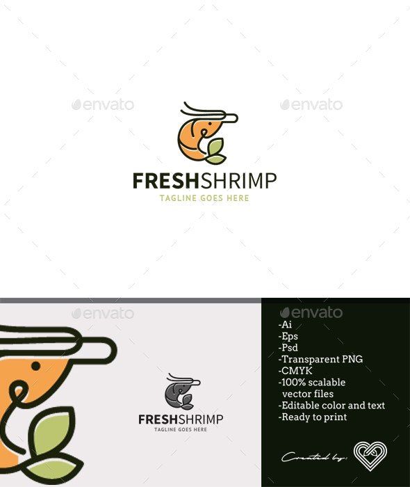 Fresh Shrimp - Food Logo Templates