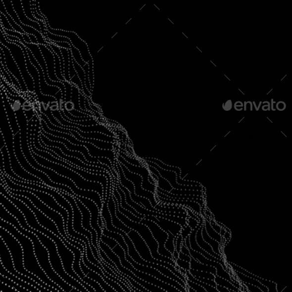 Abstract 3D Rendering Of Waves With Particles.