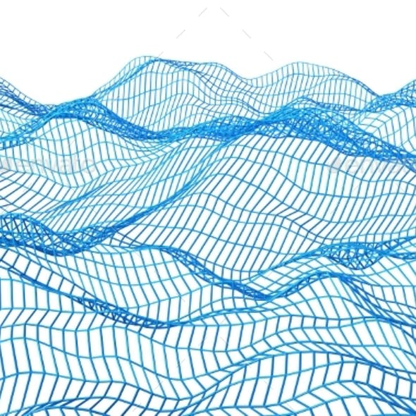 Abstract 3D Rendering Of Surface With Waves