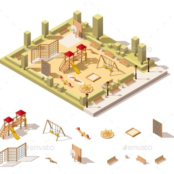 Isometric Low Poly Playground Icon