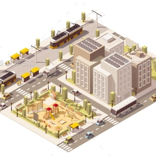Vector Isometric Low Poly Commuter Town