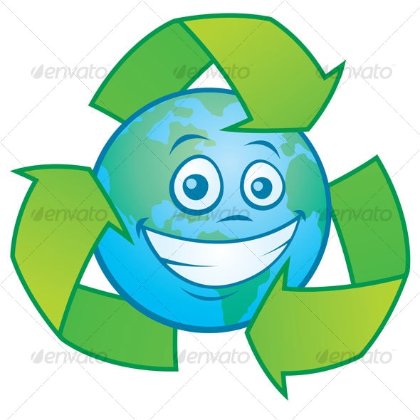 Earth Cartoon With Recycle Symbol - Miscellaneous Characters