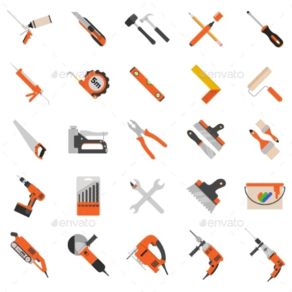 Home Repair Tools Vector Icons.