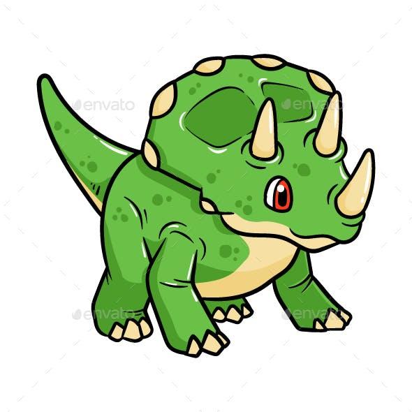 Cartoon Triceratops Vector Illustration