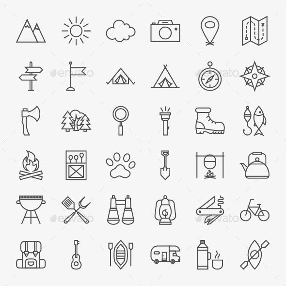 Camping Vector Line Icons - Seasonal Icons