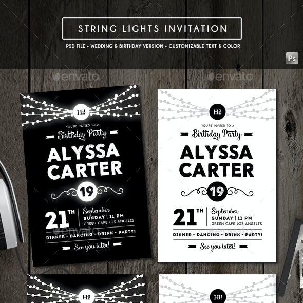 String Lights Invitation (Wedding & Birthday)
