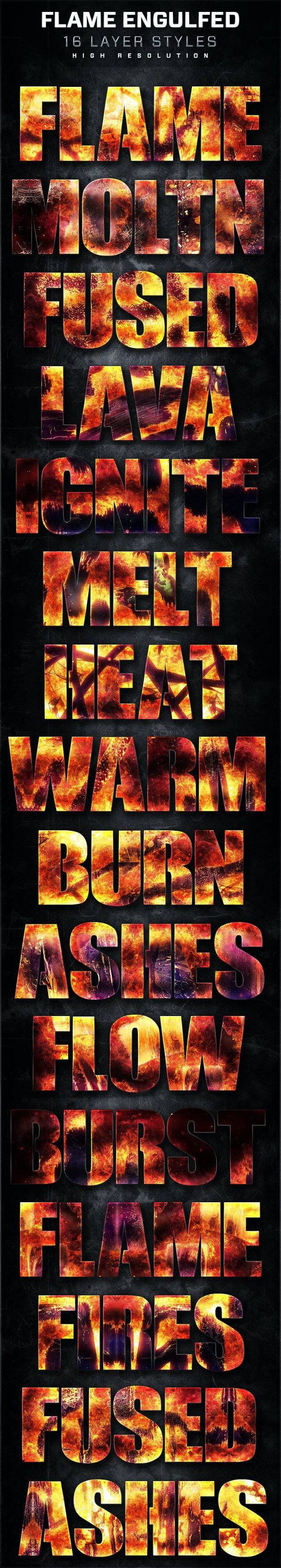 16 Flame Engulfed Layer Styles - Text Effects Styles