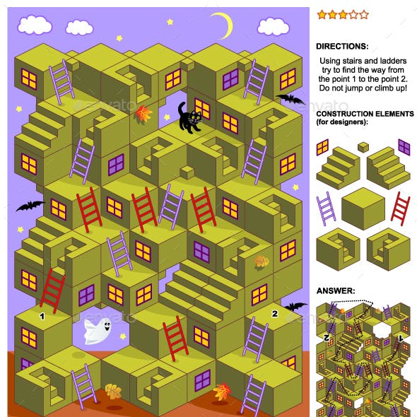Autumn or Halloween 3d Maze Game with Stairs and Ladders