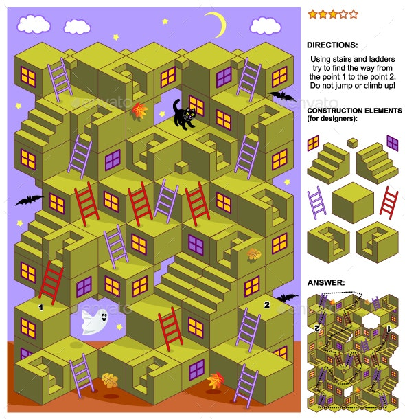Autumn or Halloween 3d Maze Game with Stairs and Ladders - Seasons/Holidays Conceptual
