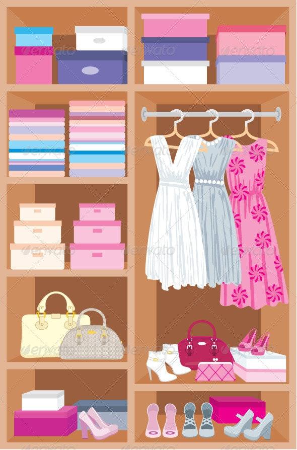Wardrobe room. Furniture - Objects Vectors