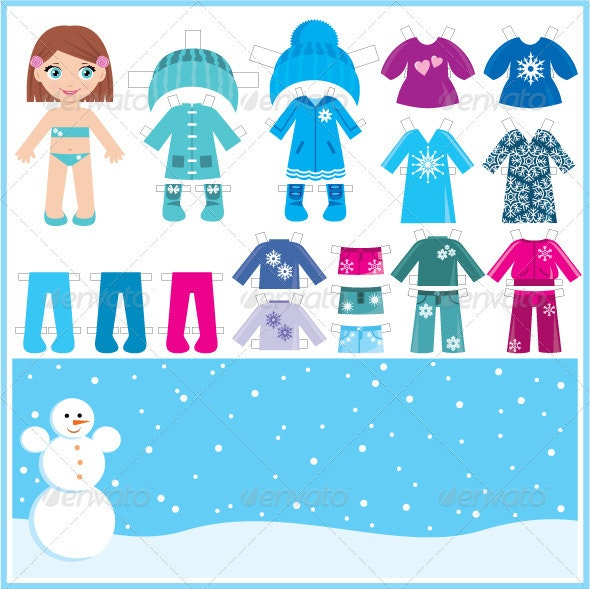 Paper doll with a set of winter clothes. - Decorative Vectors