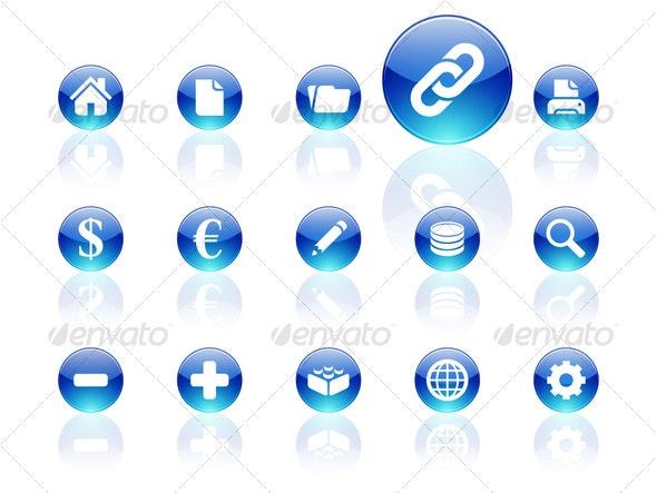 White on blue aqua icons | set 1 - Decorative Vectors