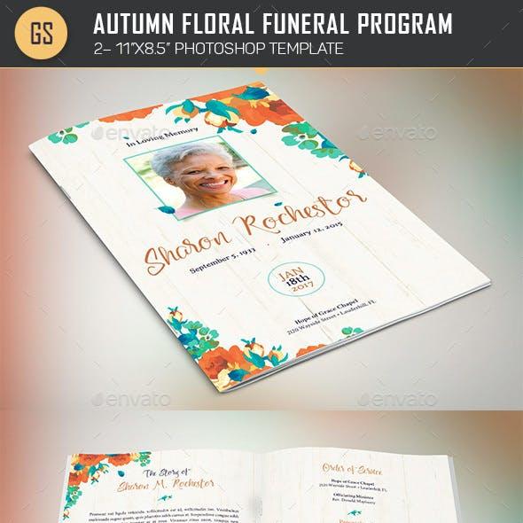 Autumn Floral Funeral Program Template