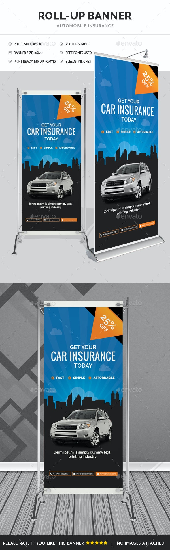 Car Insurance Rollup Banner  - Signage Print Templates