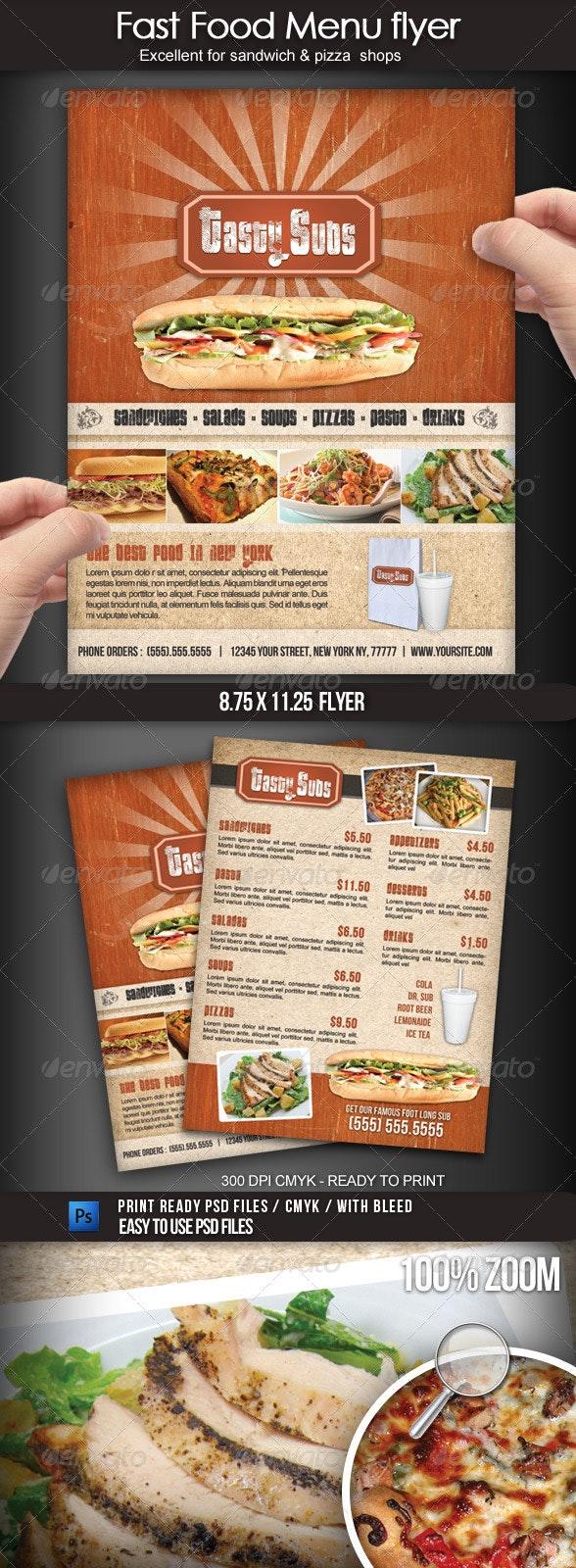 Fast Food Menu Flyer - Food Menus Print Templates