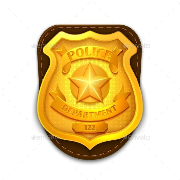 Gold Realistic Police, Detective Vector Badge
