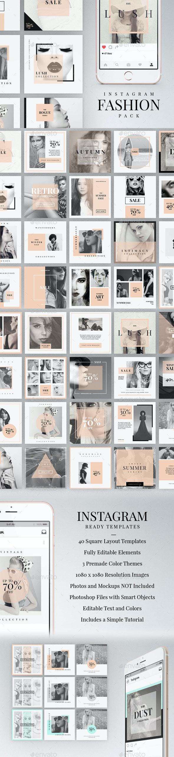 Instagram Fashion Pack - Social Media Web Elements