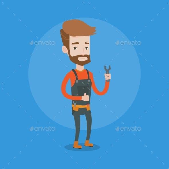 Repairman Holding Spanner Vector Illustration.
