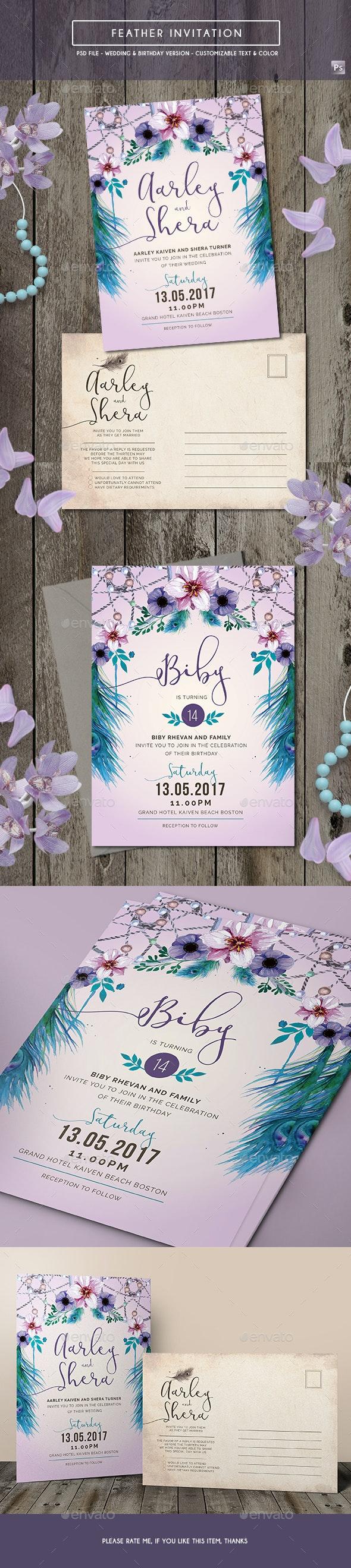 Feather Invitation (Wedding & Birthday) - Invitations Cards & Invites
