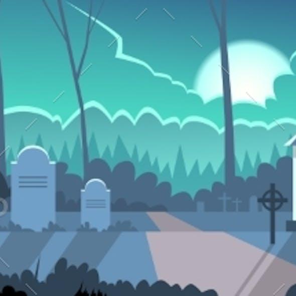 Halloween Banner Cemetery Graveyard Grave Stone