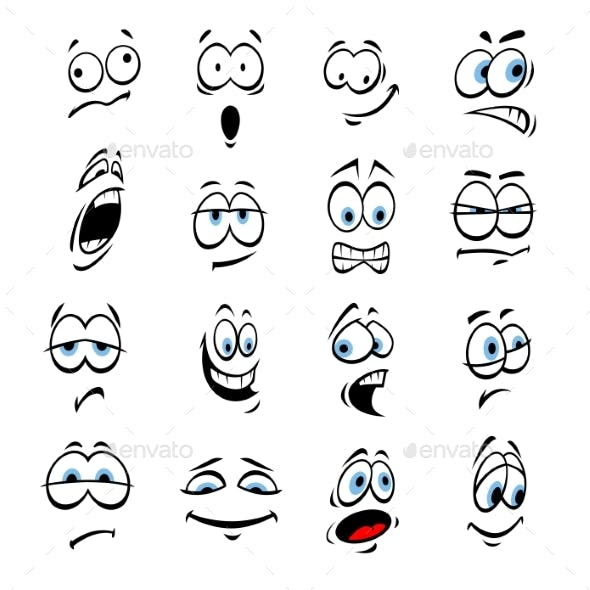 Cartoon Eyes, Face Expressions And Emotions