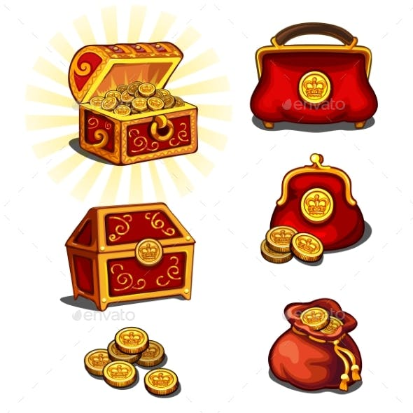 Great Wealth Set, Chest, Purse And Gold Coins